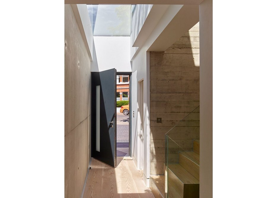 The entrance with rooflight above at new Richard Dudzicki house in west London.