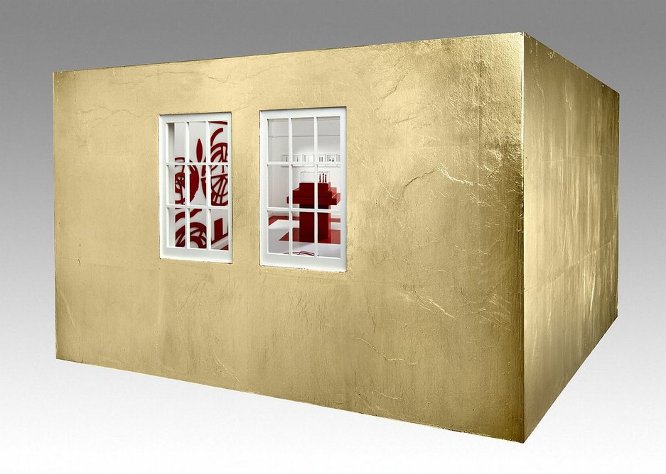 Model for the 'Room of Dreams'.  Mixed media with gilded exterior.