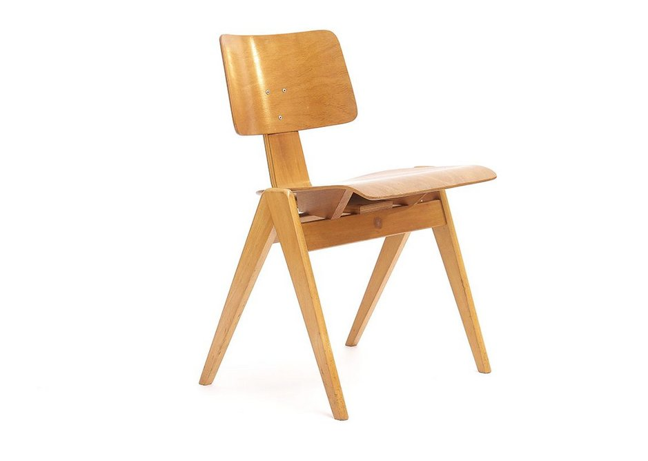 Beech and moulded ply make up the Hillestak Chair, 1951.