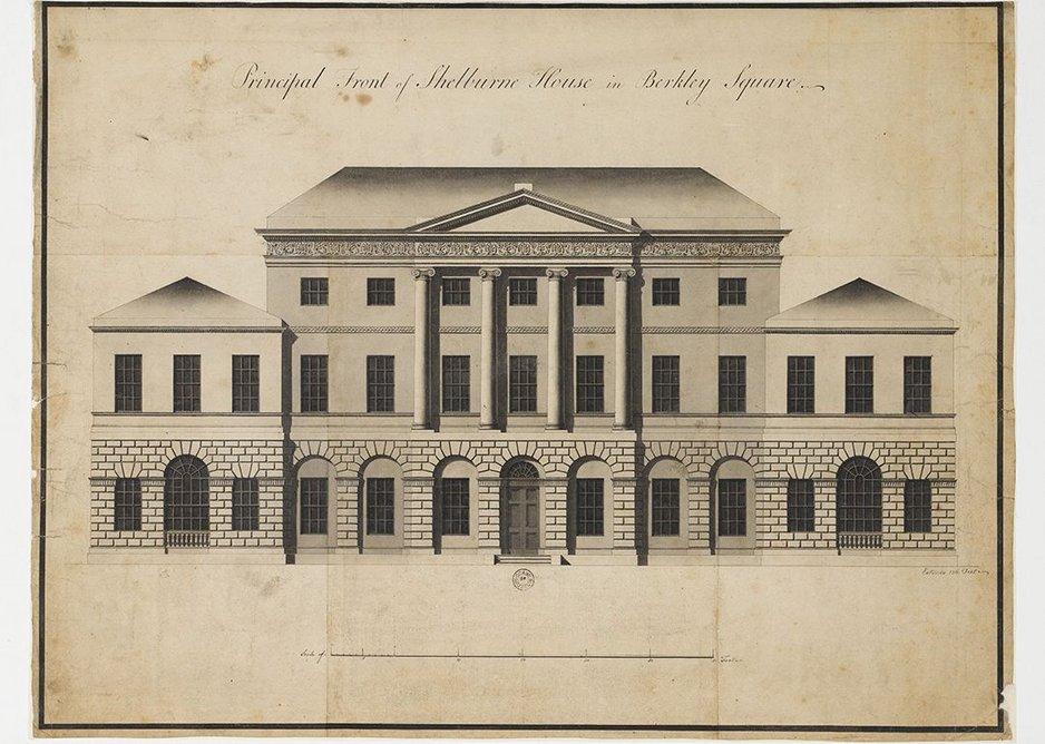 Finished drawings showing the principal elevation of Lansdowne House, Berkeley Square, 1766.