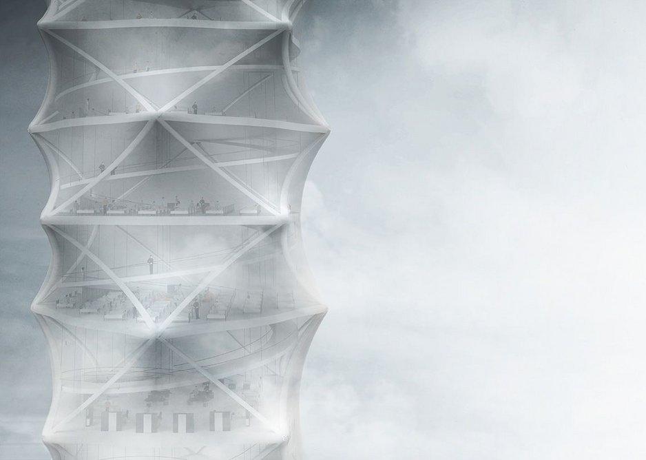 Skyscraper.zip detail. As conceived by Polish architects Damian Granosik, Jakub Kulisa, and Piotr Pańczyk