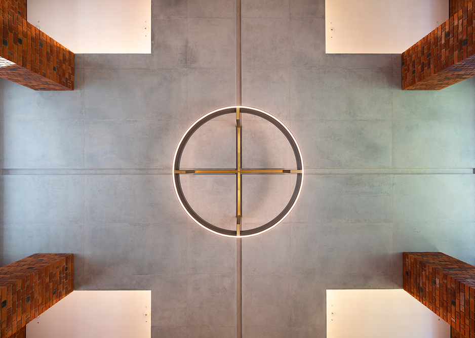 Cruciform ceiling view of foyer with bespoke light fitting. Credit: Hufton + Crow