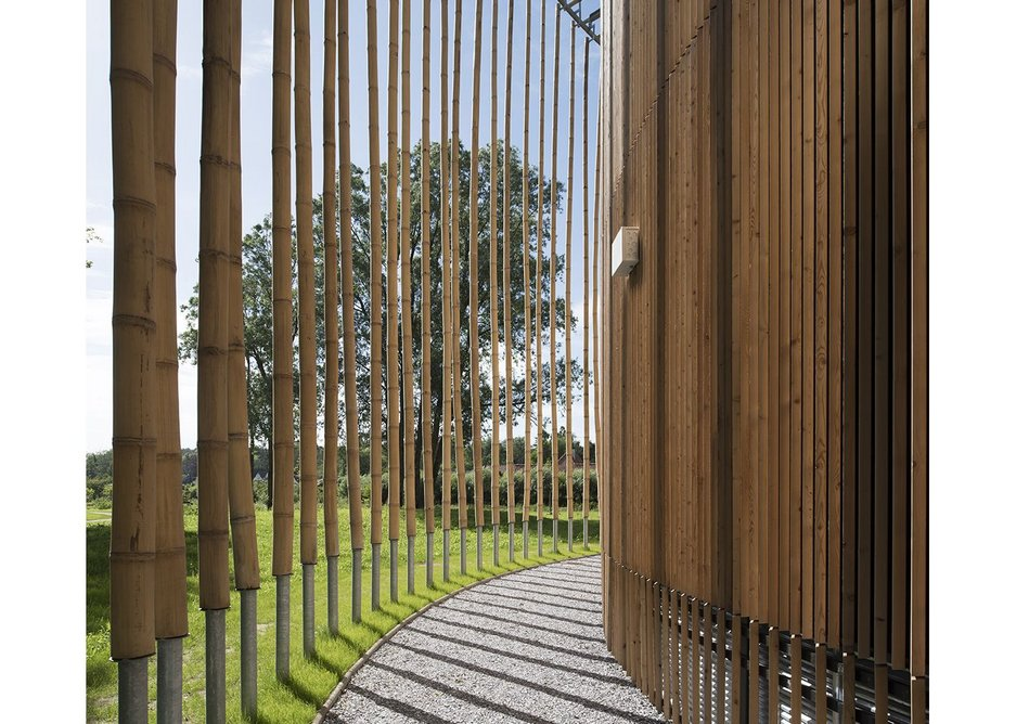 The bamboo verticals are held at a distance, stepped away from the facade and the ground.