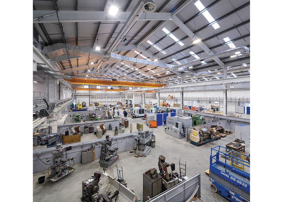 Inside the testing facility/ workshop. Clear spans allow for heavy duty testing machinery and two high load lifting gantries.