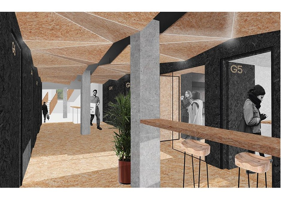 Visualisation of the OSB insertions: Modular office pods, shared social areas and meetingspaces.