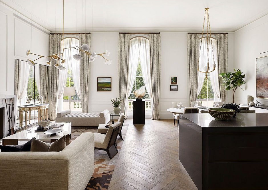 One of the grand crescent show apartments. Here, oak flooring by Ted Todd was used in a herringbone pattern.