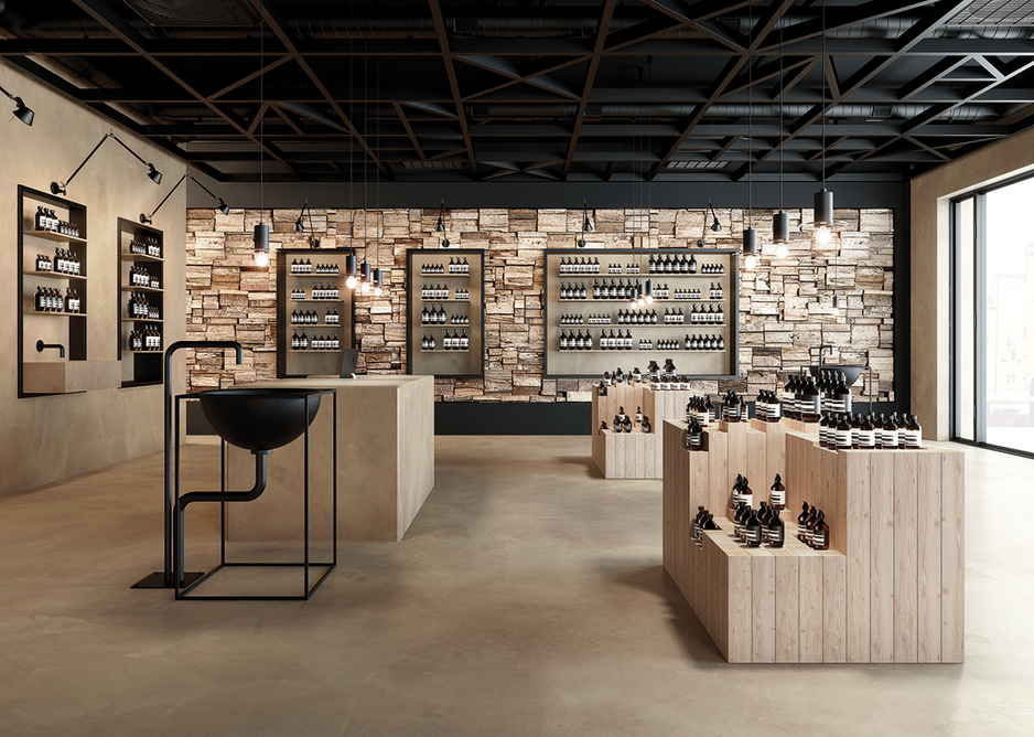 Mapei Utratop Loft cement-based flooring and walls in a retail setting.