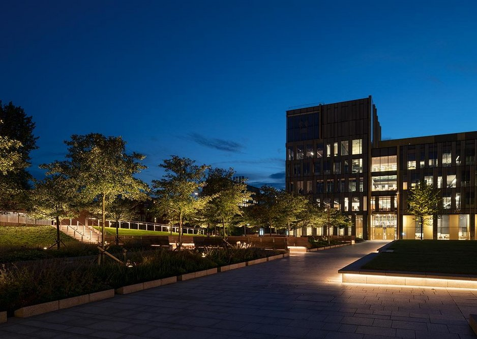 160 new trees, part of the landscaping proposal, are uplit to give lighting a 'three-dimensional', spatial component.