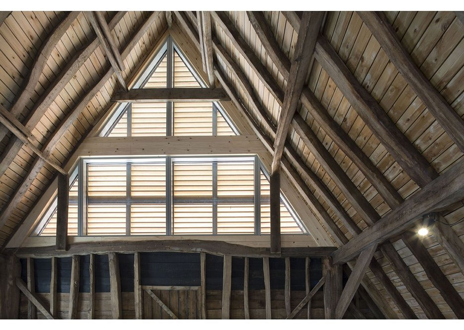 Many delicate structural repairs later: the frame of the finished barns at Anstey Hall Barns in Trumpington, Cambridge, as designed by David Miller Architects.