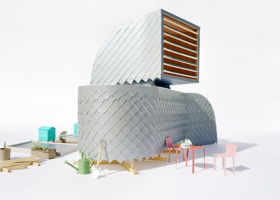 PUP Architects' H-VAC presentation model for an antepavilion clad in reversible Tetra Pak shingles. From the exhibition Architecture Prototypes & Experiments at the Aram Gallery.