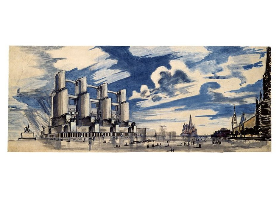 Panteleimon Golosov, Alexander Kurovsky. Competition project for the printing plant of Pravda newspaper in Moscow (realized), 1930.