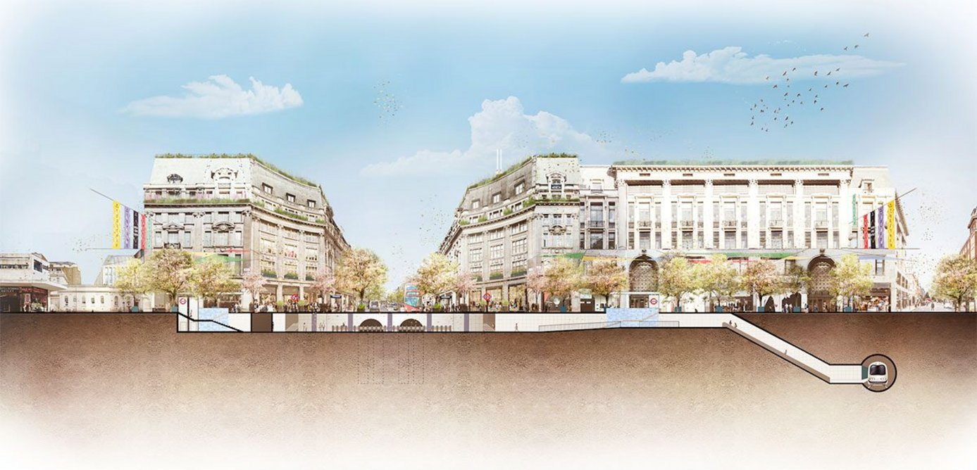 Artist's impression of the western piazza with new access into the London Underground, improved public realm and greening, from Oxford Circus looking west into Oxford Street.