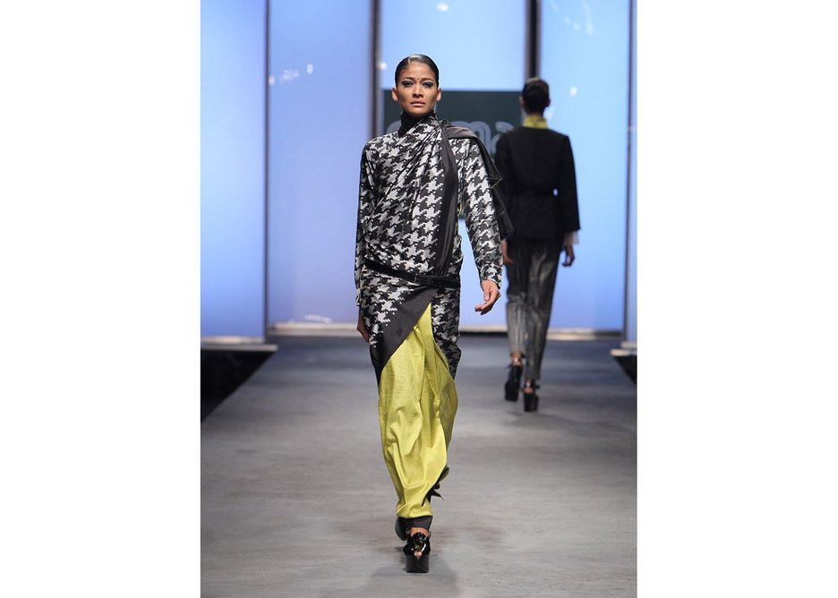 Houndstooth sari by Abraham and Thakore double ikat silk Hyderabad 2011.