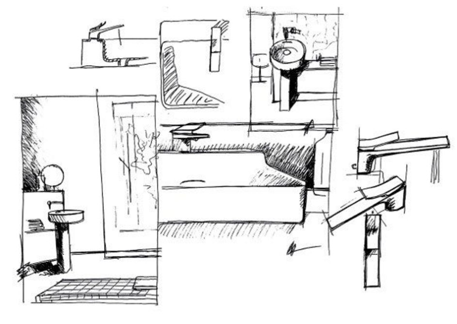 Sketches for the new Ideal Standard Atelier collection, designed by Roberto Palomba.