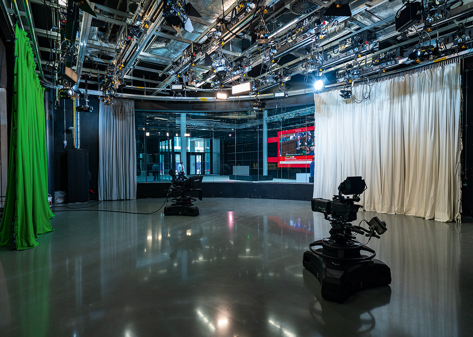 The larger TV studio looking to the north entrance. With floating floors and thick acoustic glass, the public can pass through and observe without disturbing a live performance.