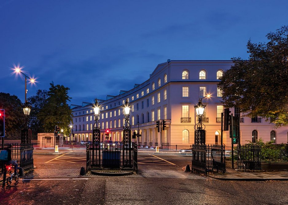 Regent's Crescent seen from Park Square. The rebuild retains its grade I-listed status.