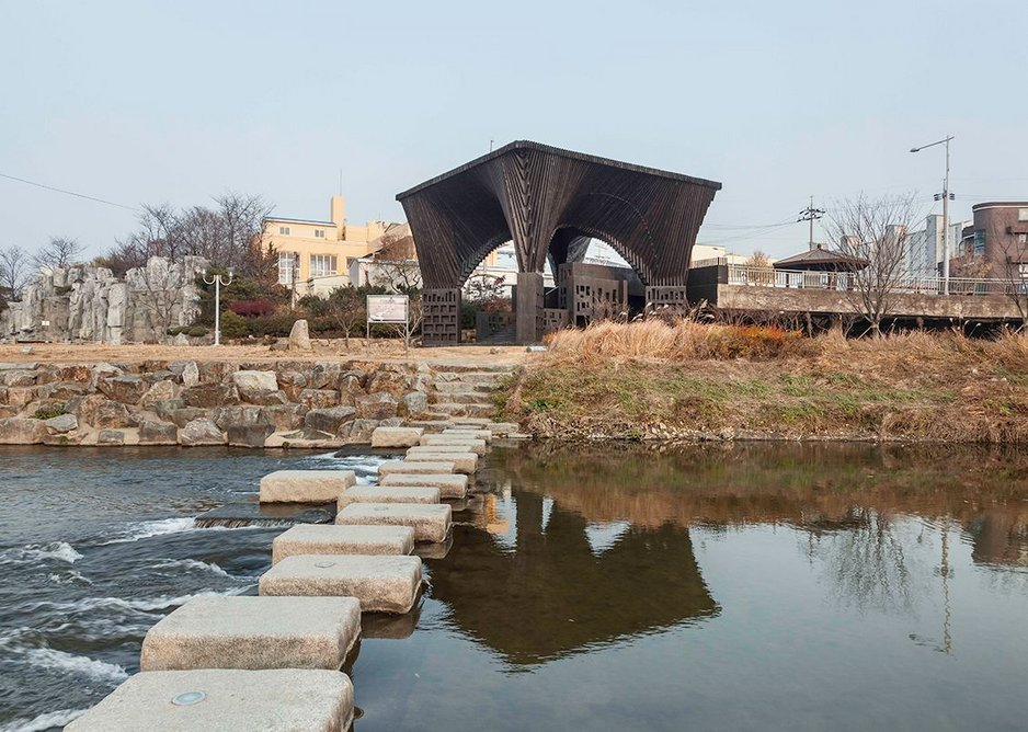 Gwangju River Reading Room, designed by Adjaye Associates in South Korea in collaboration with writer Taiye Selasi. The pavilion commemorates those who died in a pro-democracy uprising.