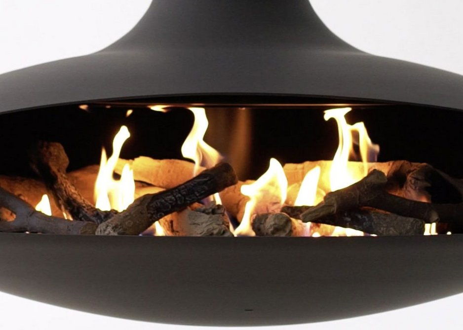 Ceramic logs help mimic the play of flames in a real wood fire.