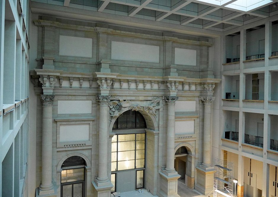 One of the smaller covered internal courts: three-quarters modernist, one-quarter repro.