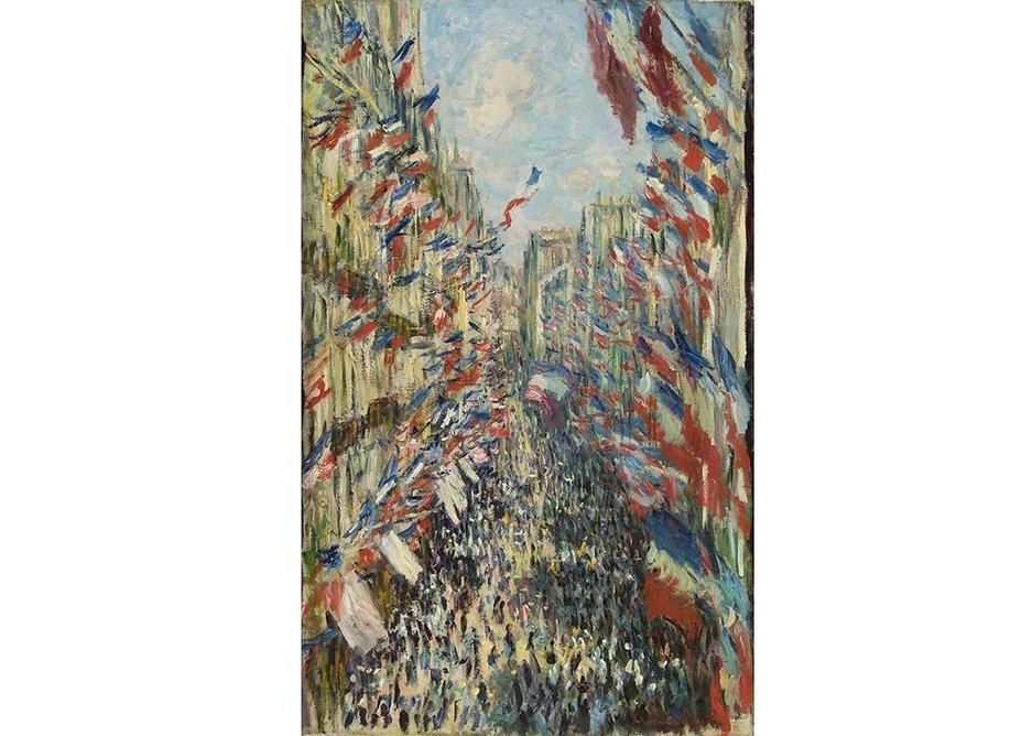 Claude Monet, The rue Montorgueil, Paris. The National Holiday of 30 June, 1878 (La Rue Montorgueil, Paris. Fête du 30 juin, 1878). Musée d'Orsay, Paris (RF1982.71).