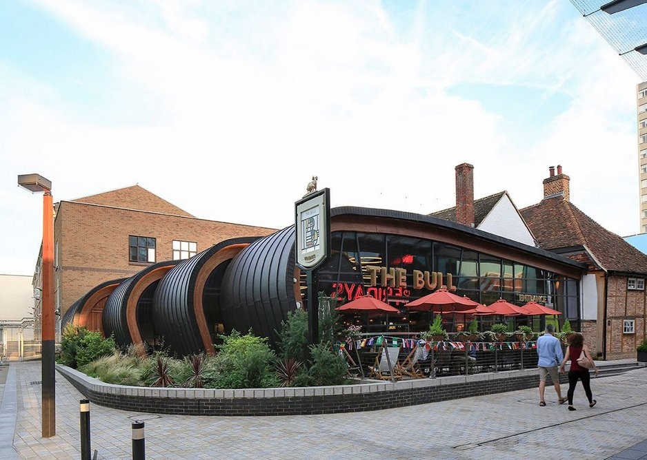 Anthra-Zinc Plus standing seam roofing and cladding at The Bull pub, Bracknell by Piper Whitlock Architecture.