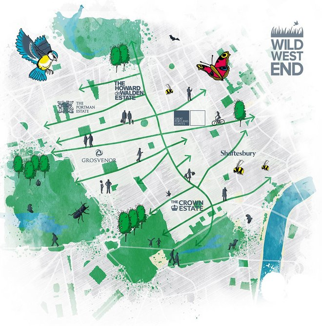 Vision for the Wild West End project, which aims to create green corridors throughout London's West End.