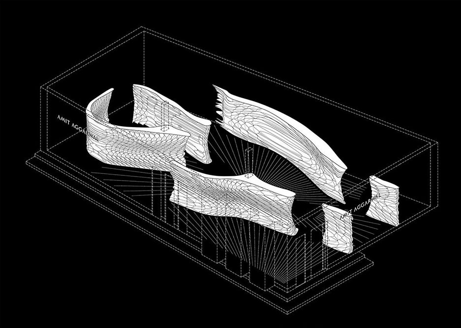 The screens' organic, reflective form creates spatial complexity from what is a conventional box volume.