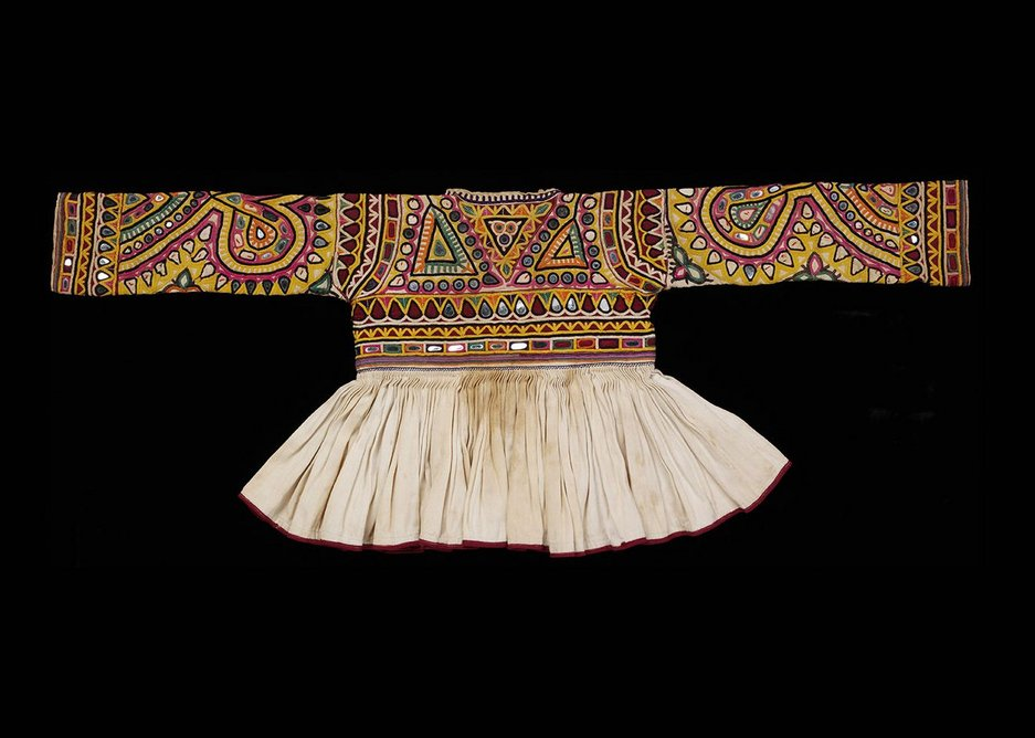 Rabari childs jacket cotton embroidered with silk Kutch 20th century.