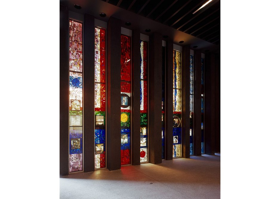 In the shop, original stained glass is reinstated though you'd easily miss it.