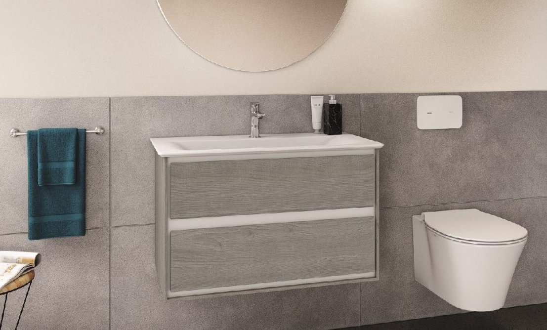 Altes ceramic flush plate in white with Connect Air washbasin and WC.