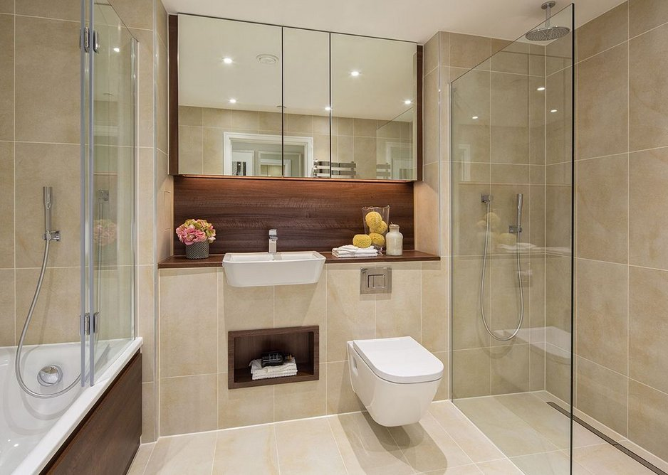 Wetrooms at Barratt London's Nine Elms Point feature Impey's bespoke drainage designs.