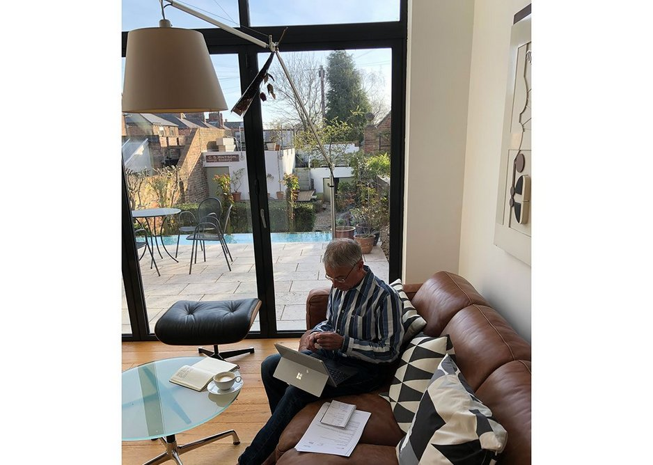 Peter Buchan, senior partner at Ryder Architecture, working from home.
