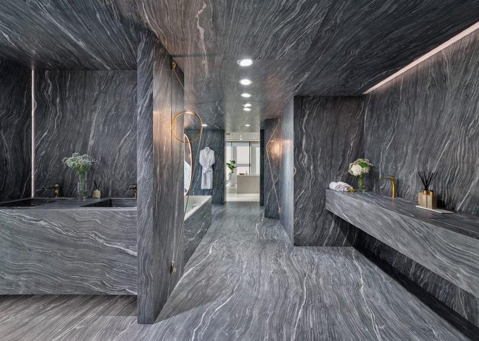 Neolith Mar del Plata sintered stone in the bathroom showroom.