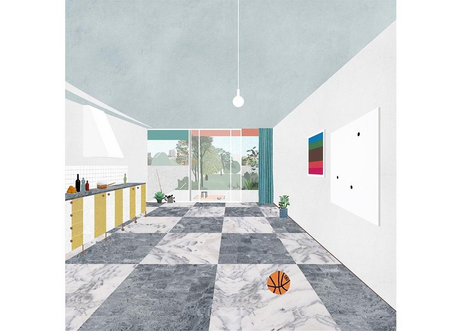 Interior collage of Project 077, a five-storey house, outside Porto.