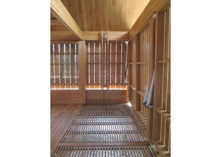 Slatted panels can be removed to create a boat dock.