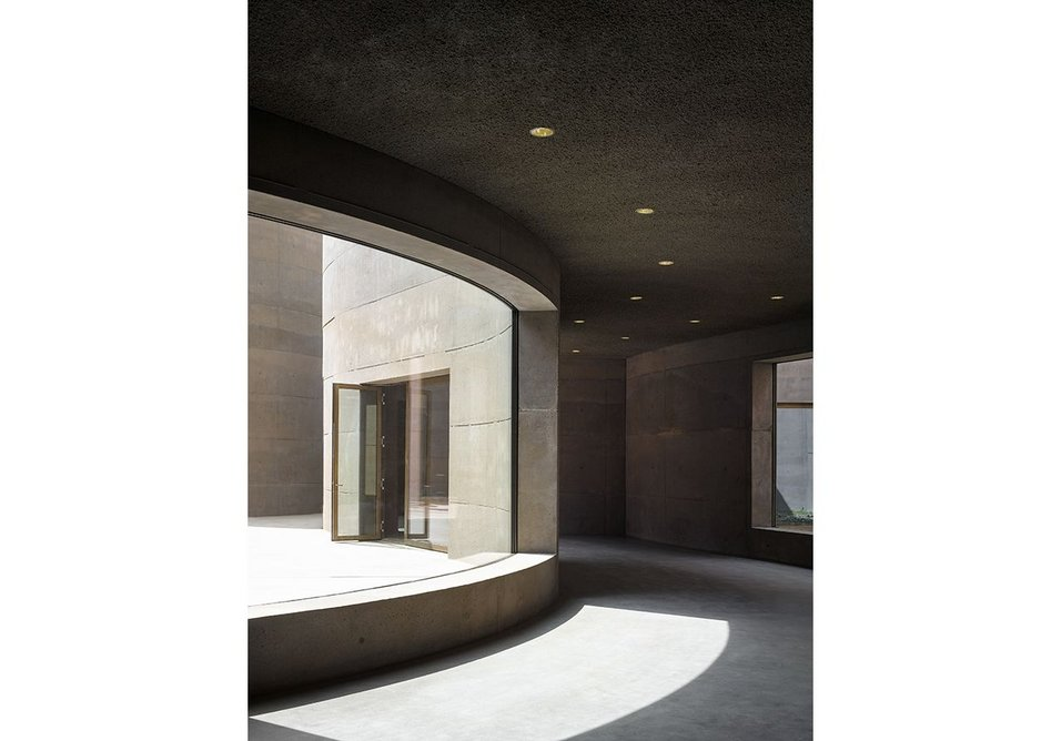 Exhibition spaces flow effortlessly around the courtyard culminating in the café and door to the outside..