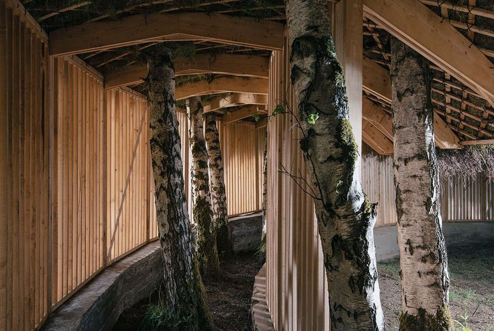 Silence - Alone in a World of Wounds, 2021, by Heather Peak and Ivan Morison (Studio Morison). Visitors pass first along a cloister like passage before emerging in the central space. Photo © Charles Emerson, Courtesy The Oak Project and Yorkshire Sculpture Park