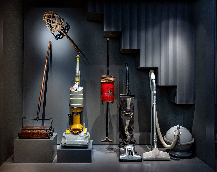 Display of cleaning appliances within the Home Galleries, within the new basement exhibition space created by Wright & Wright. Exhibition design is by ZMMA.