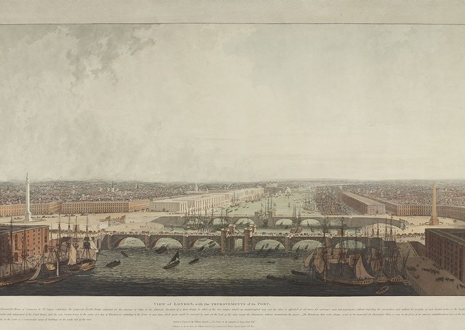 This vision of a double London Bridge designed by George Dance, City Architect, is depicted by William Daniell, 1800 © London Metropolitan Archives.