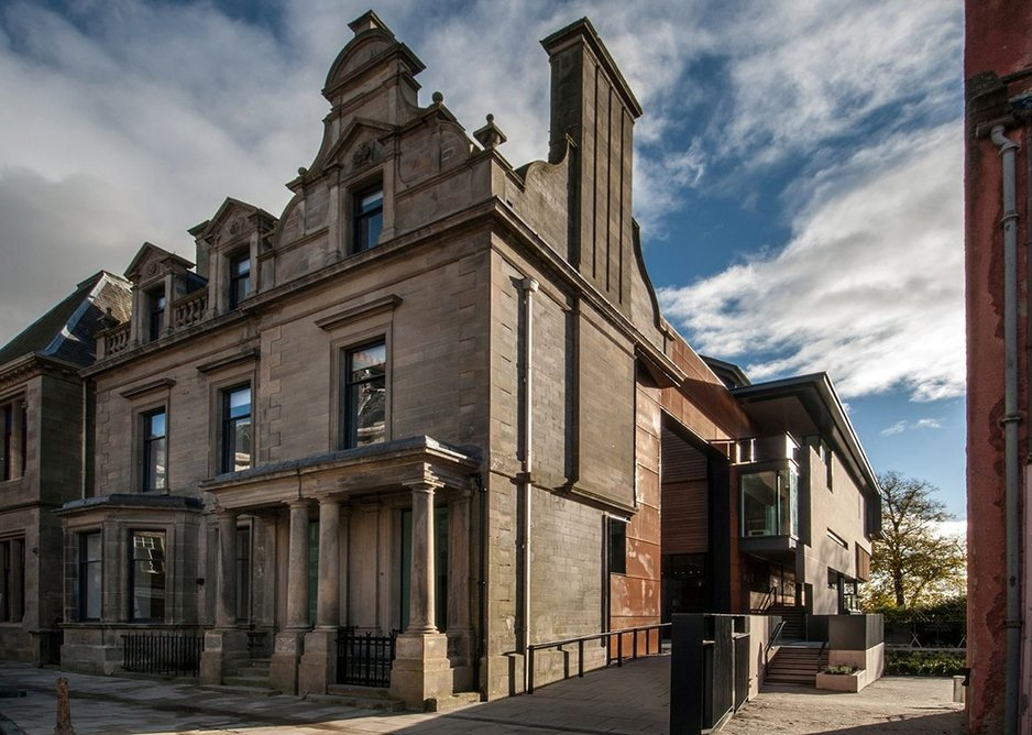 Dunfermline Carnegie Library & Galleries entrance, Richard Murphy Architects.