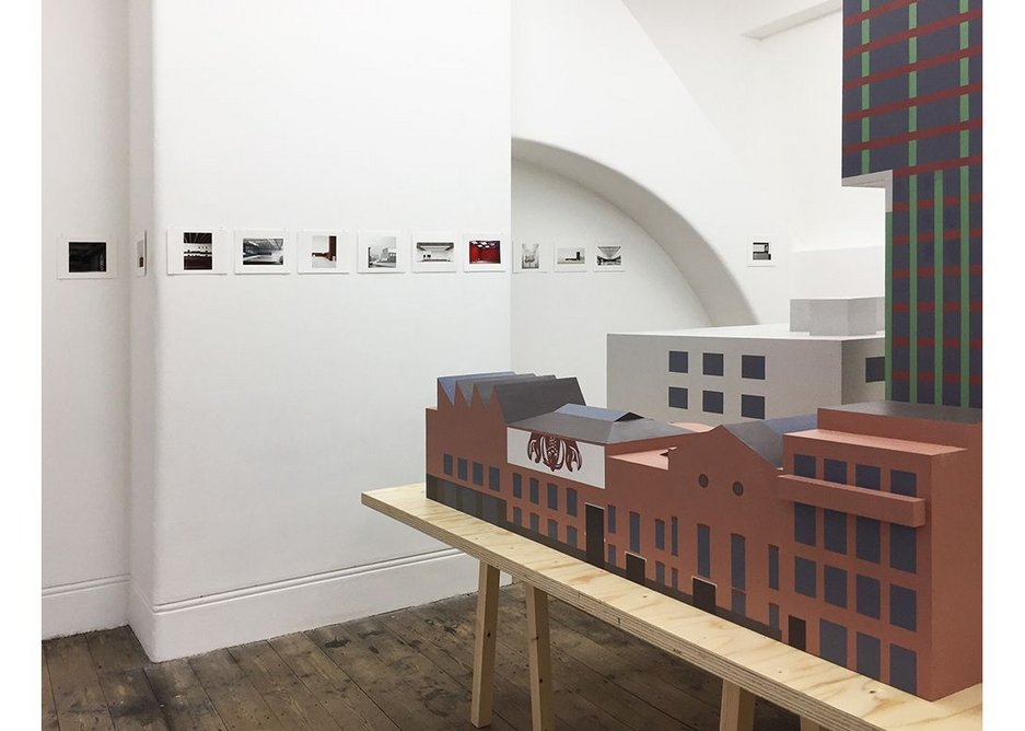 Caruso St John, Diorama, exhibition view with model of Newport Street Gallery in the foreground.