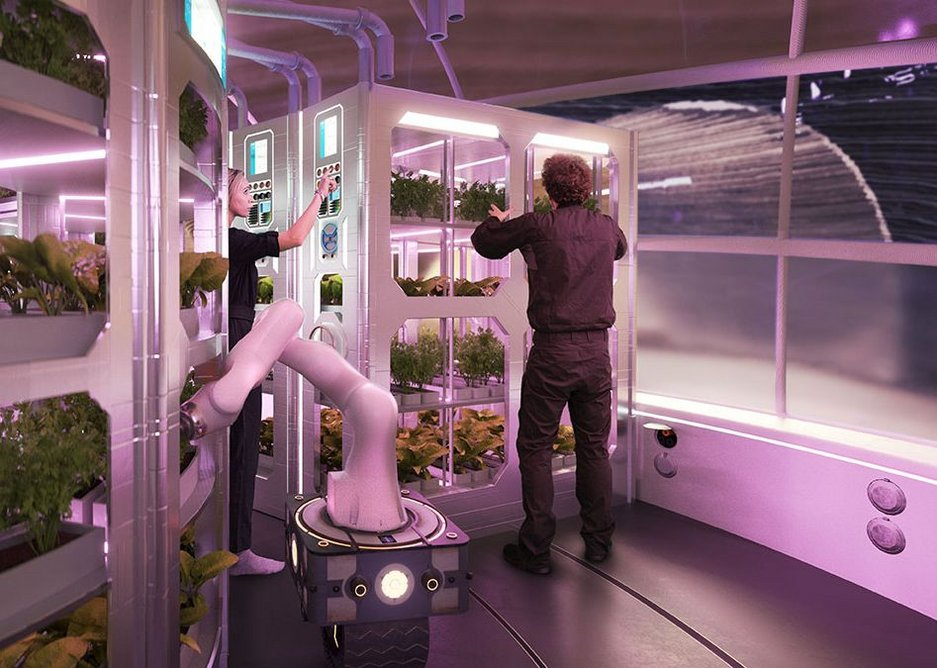 A hydroponics farm would grow plants for food and medicine.