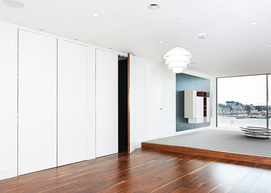 Concealed double doors with minimal visual impact using Arriva · Credit: Selo