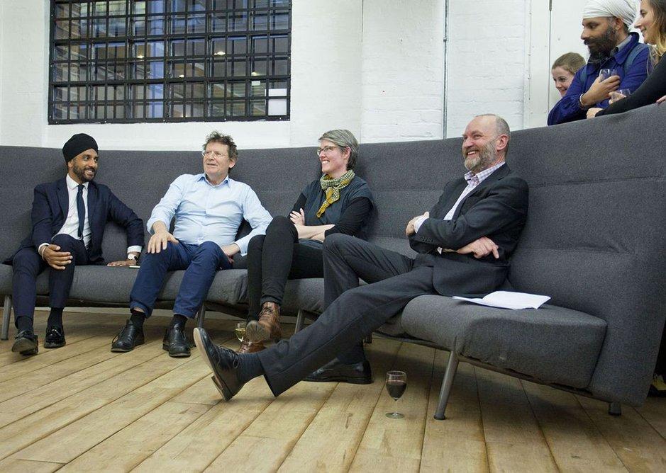 Left to right - Sagoo, Parry, Fernie and RIBAJ editor Hugh Pearman in full flow