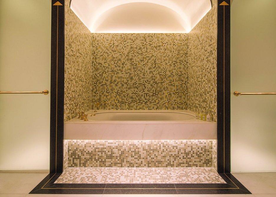 Marple mosaic tile forms the centerpiece of bathroom designs.