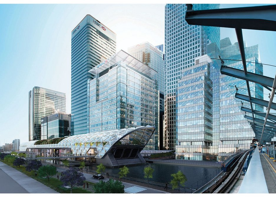 No need for a CGI chaps, this actually exists. Foster did the oversite development at Canary Wharf.