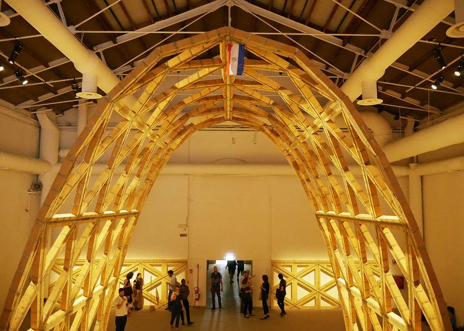 Traditional materials – here brick and cement – are used to make a fine parabolic arch by Paraguayan architect Paraguayan architect Solano Benitez.