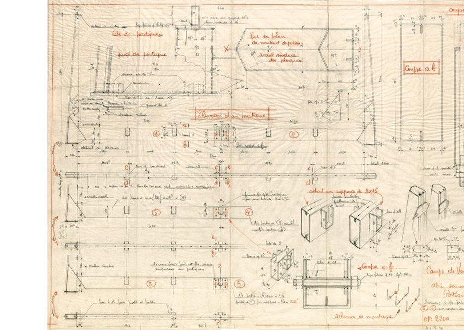 Jean Prouvé, Floor plan, sectional views and perspectives: details, Holiday residence, Onville, France, 1939 Arch. dép. de Meurthe-et-Moselle: 23 J 68-30 © 2013, Pro Litteris, Zurich.