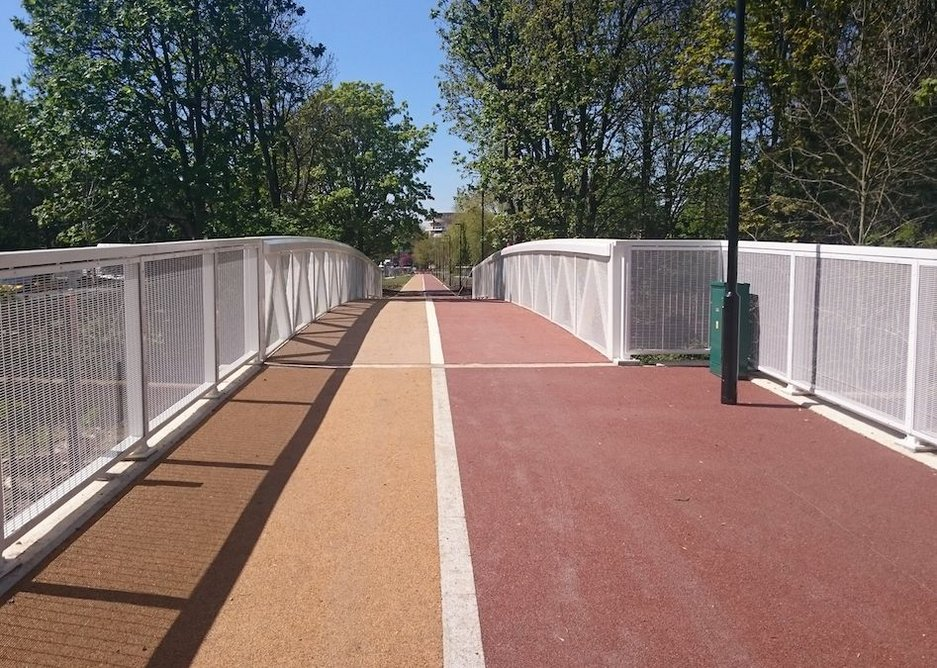 Transport for London's new super cycle and footpath highway in Waltham Forest.