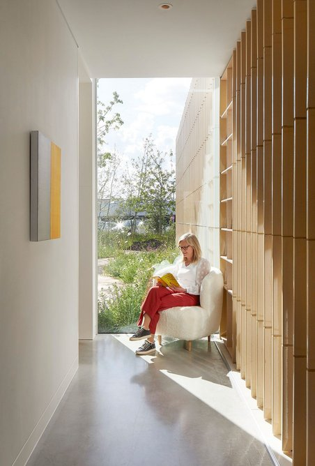 Interstitial spaces offer moments of calm and respite away from the main hospital.